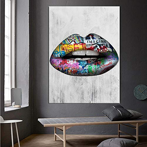 Abstrakte sexy Lippen Wandkunst Malerei Druck auf Leinwand Poster und Drucke Graffiti Kunst Leinwanddruck Kunst Bilder nach Hause rahmenlose dekorative Leinwand Malerei A18 50x70cm