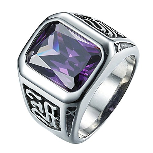 INRENG Men's Retro Stainless Steel Square Gemstone Ring Mantra Carved 3 Colors Purple Size 9