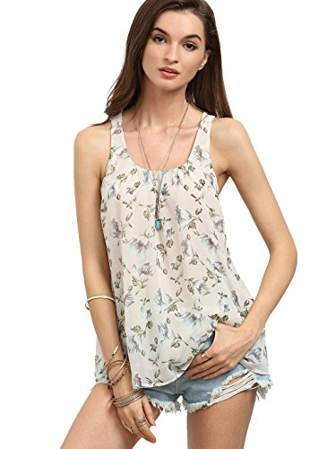 Floerns Women's Sleeveless Chiffon Blouse Print Casual Tank Top Beige M