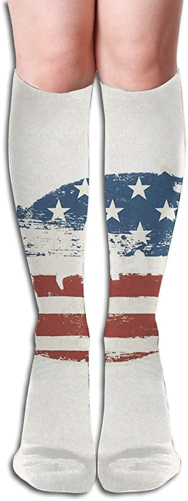 Men's and Women's Funny Casual Combed Cotton Socks,Grunge American Flag Themed Stitched Rugby Ball Vintage Design Football Theme