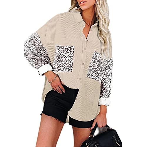ZFQQ Autunno/Inverno Donna Casual Multicolor Stampa Leopardo Cuciture Risvolto Camicia di Velluto a Coste Giacca Allentata