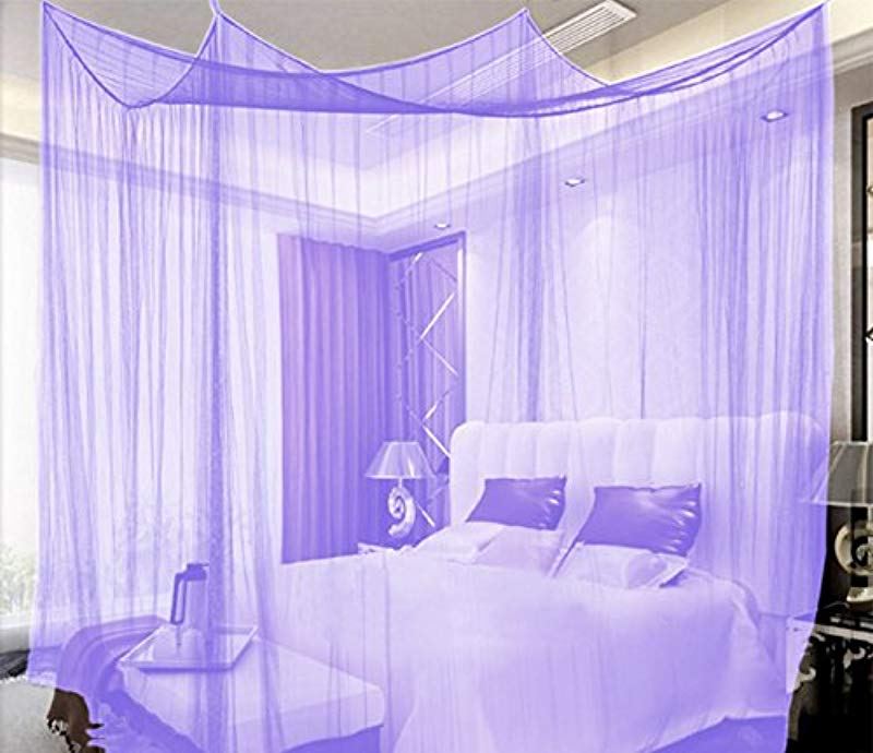 HGMart 4 Corners Bedding Curtain Zipper Mosquito Netting With Thin Mesh Indoor Bed Canopy Against Mosquito And Insects 74 8x82 68x94 49 Purple