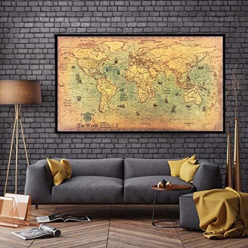 Kloius Náutico del Océano Mar Mapa del Mundo Arte Retro Pintura de Papel Decoración para el hogar Etiqueta Engomada Obras de Arte y Material Decorativo