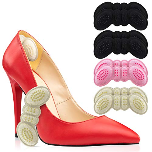 Heel Cushion Insert Shoe Pad for Womens Shoes or Mens 4 Thick Pairs of Heel Insert Shoe Pads Grips for Loose or Too Big Shoes Foot Insoles Protectors Gap Filler