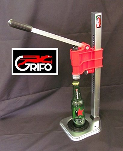 STURDY GRIFO BENCH CAPPER (RED) FOR BOTTLING YOUR HOMEBREW BEER SODA & KOMBUCHA w/ FREE CROWNS
