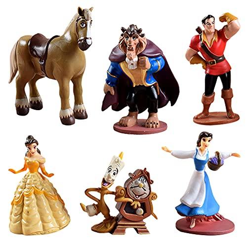 Hilloly 6 pcs Decoración para Tarta Princesa La Bella y la Bestia Cake Topper Mini Juego de Figuras Niños Fiesta de cumpleaños Pastel Decoración Taza de té, Reloj