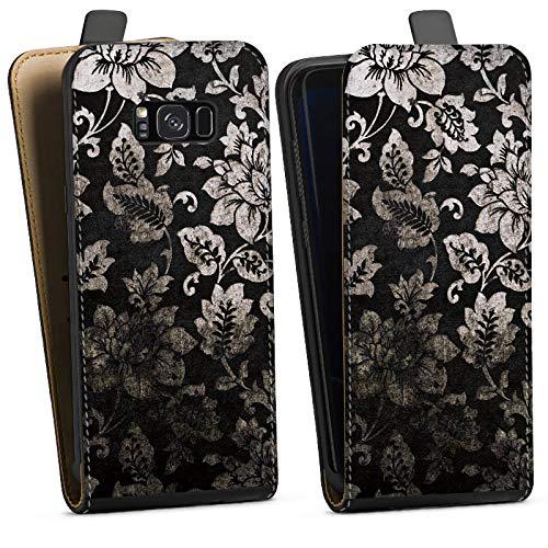 DeinDesign Tasche kompatibel mit Samsung Galaxy S8 Plus Duos Flip Hülle Hülle Schwarz Ornamente Pattern Blume