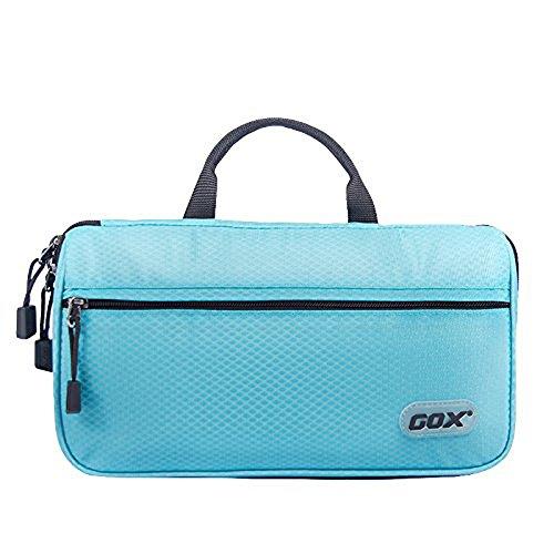 Borsa da toilette, GOX Premium Large 420D nylon impermeabile Flip Folio portatile fronte aperto Split design di stile Beauty Case / Kit da toilette Bag / Organizzatore di Viaggi con gancio (Cielo blu)