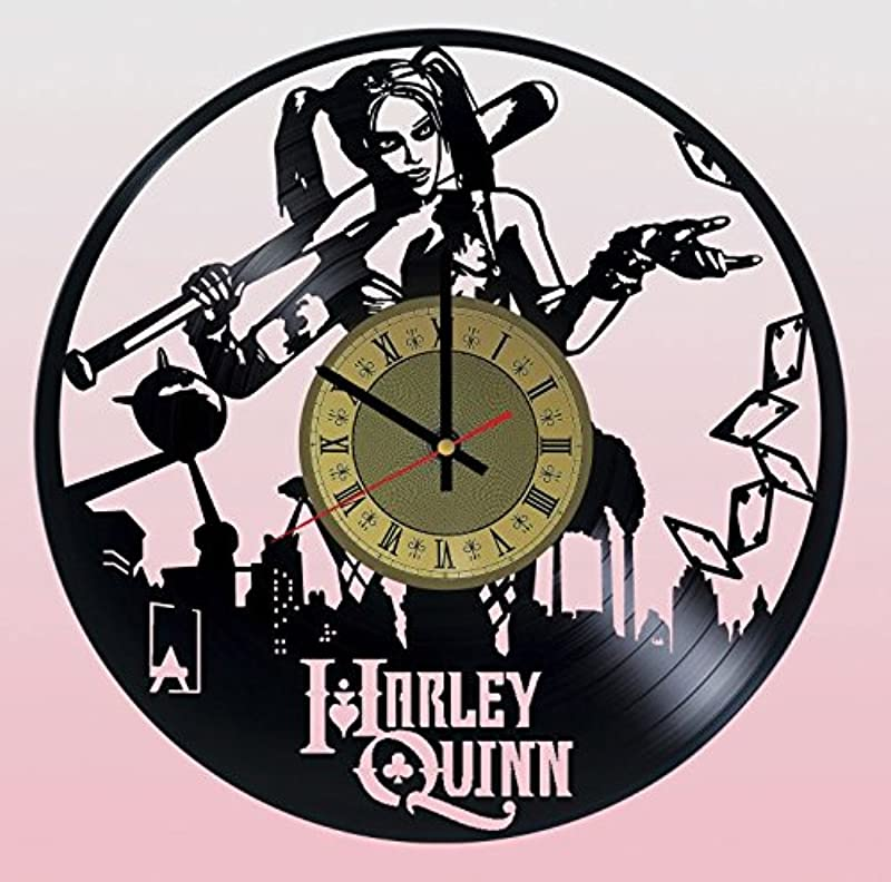 Pieceful Harley Quinn Dc Comics Vinyl Record Wall Clock Artwork Gift Idea For Birthday Christmas Women Men Friends Girlfriend Boyfriend And Teens Living Kids Room Nursery Gold Black