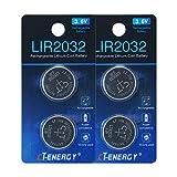 Rechargeable 2032 Batteries 3.6V Lithium Ion Button Coin Cell Batteries of Key Fob Batteries CR2032 Rechargeable (4pcs)