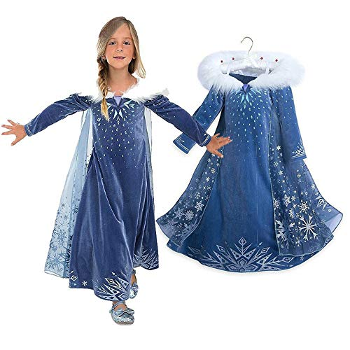 EsTong Girls Snow Princess Fancy Cosplay Dress Winter Toddlers Halloween Costume Party Dress Up Style One 4T