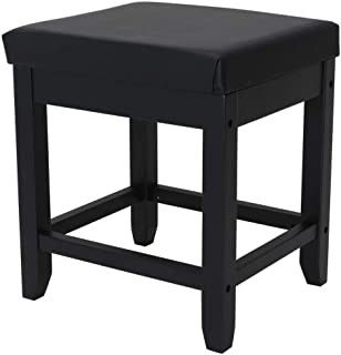 IWELL Large Vanity Stool with Solid Wood Legs, Makeup Bench Dressing Stool, Padded Cushioned Chair, Capacity 330lb, Piano Seat, Black ASZD003H