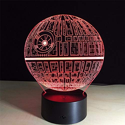 Qaq Starry Sky3D Death Star Night Lights Optische illusie Lamp Star Wars Ds Platform 7 kleuren wisselende tafellamp switch
