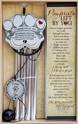 Pet Memorial Wind Chime - 18' Metal Casted Pawprint Wind Chime - A Beautiful Remembrance Gift for a Grieving Pet Owner - Includes Pawprints Left by You Poem Card