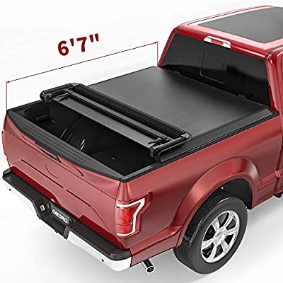 oEdRo Quad Fold Tonneau Cover Soft Four Fold Truck Bed Covers Compatible with 2015-2020 Ford F-150 F150, Styleside, 6.6 Feet Bed