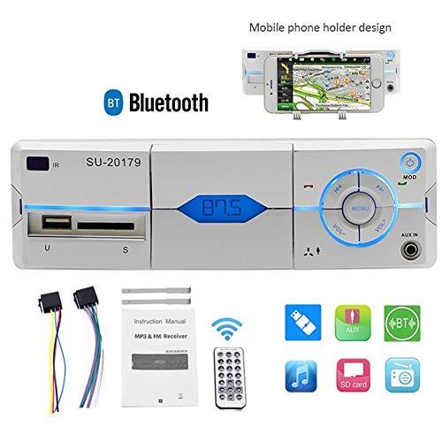 Autoradio 1Din in-Dash MP3 Lecteur multimédia Musique Bluetooth Mains Libres FM/AUX/USB Carte Udisk Lecture Télécommande AutoRadio