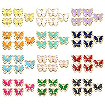 Juland 60 Pieces Mixed Alloy Butterfly Enamel Charms Pendants Necklace Bracelet Assorted Metal Floating Charms Wholesale Earrings Findings Oil Drip Charms for DIY Glass Living Memory Locket –KH463