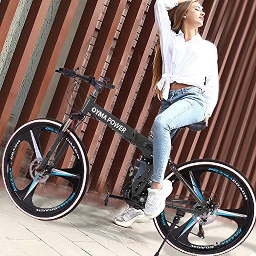 Adult Mountain Bikes,26 Inch Bike High Carbon Steel Mountain Bikes 21 Speed Bicycle Full Suspension MTB Bicycle Urban Track Bike Road Bikes for Men Women (Black)