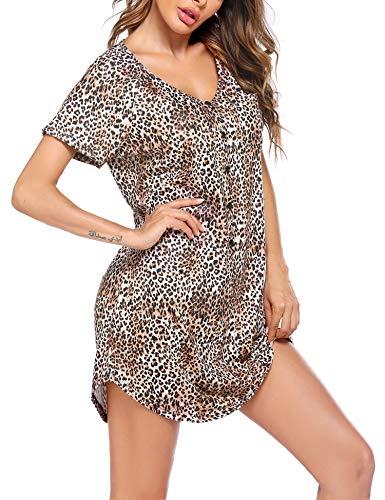 Ekouaer Womens Night Gown V Neck Boyfriend Sleepwear Nightshirt Loose Sleeve Button Pajama Dress,XXL