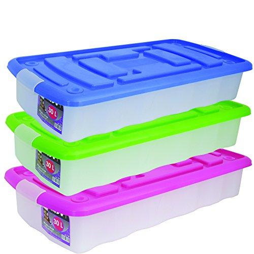 MSV 344 Aufbewahrungsbox aus Kunststoff, mit Rädern, transparent, 30l