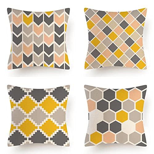 Quuzee 4 Piezas Fundas de Cojín 60x60cm Geométrico Gris Amarillo Throw Pillow Covers Decorativo Fundas de Cojín para Sofá Cama Decoración para Hogar Set de 4 Cushion Cover (24x24in)