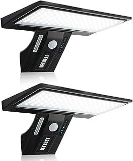 Luz Solar Exterior, 2-Paquete JESLED 90 LED Carga solar y USB, Foco Solar Potente con Sensor de Movimiento,Impermeable con...