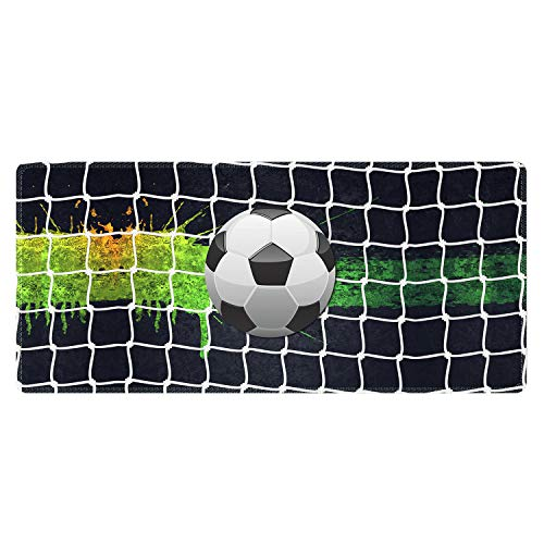 Meffort Inc Extra Large Extended Gaming Desk Mat Non-Slip Rubber Pads Stitched Edges Mouse Pad 35.4 x 15.7 inch - Soccer