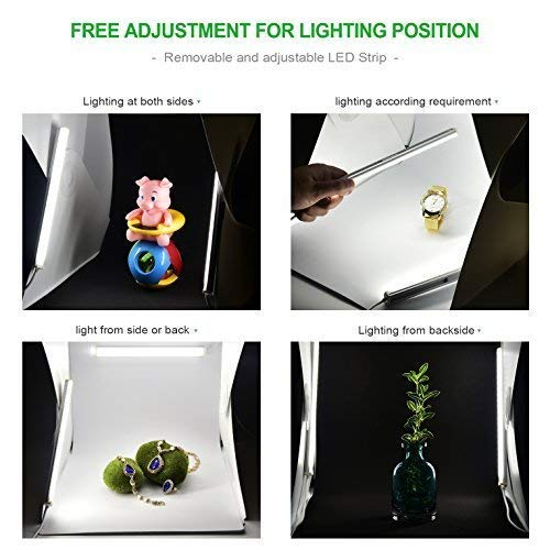 Zecti Dimmable Photo Light Box, 12x12 inch/30x30cm Portable Photo Studio Tent with 2 Adjustable LED Strip Lights and 2 Backdrops
