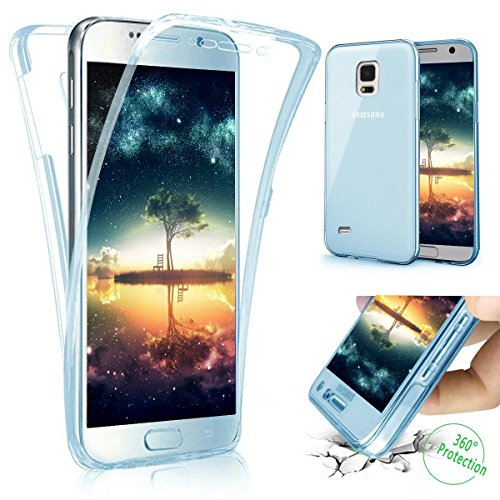 Coque Galaxy S4,Etui Galaxy S4,Galaxy S4 Case,Intégral 360 Degres avant + arrière Full Body Protection Transparente Silicone Gel TPU Souple Housse Etui de Protection Case Coque pour Galaxy S4,Bleu