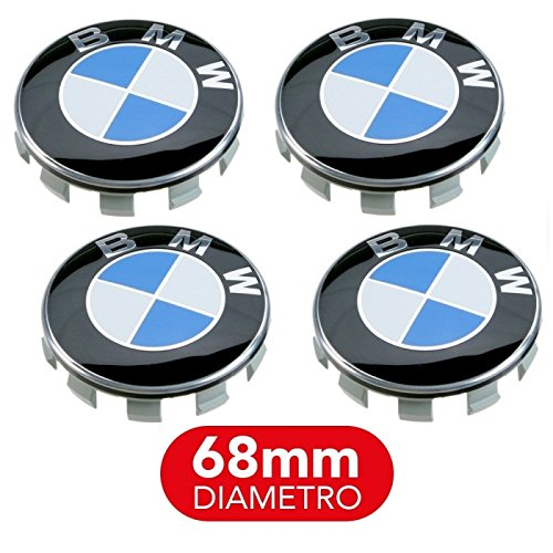 COMPATIBILE-WILLIAMS-SHOP 4 Tappi Coprimozzo compatibili con BMW 68mm Serie 1 2 3 4 5 6 7 M Z X Borchie Cerchi Lega