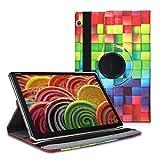 kwmobile Funda Compatible con Huawei MediaPad T5 10 - Carcasa de Cuero sintético para Tablet Cubos Colores Multicolor/Verde/Azul