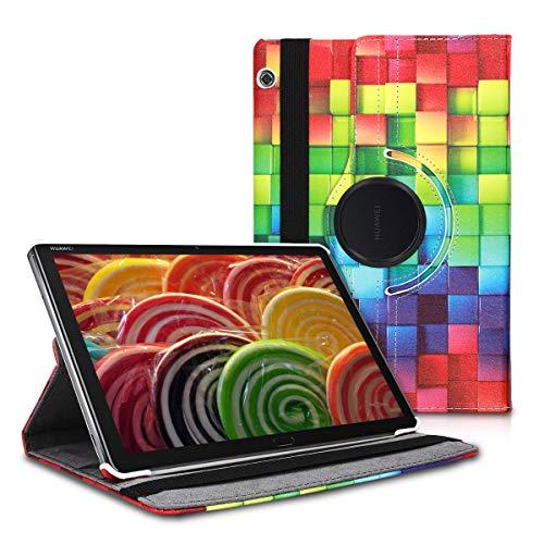 kwmobile Cover Compatibile con Huawei MediaPad T5 10 - Custodia per Tablet Rotazione 360° Stand Similpelle - Cubi Multicolore Verde Blu
