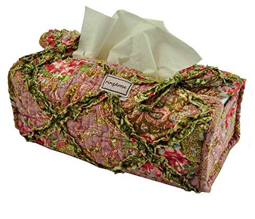 Ringarose - Fodera per fazzoletti in cotone 100% trapuntato, motivo floreale, lavabile in lavatrice, motivo: rosa cachemire