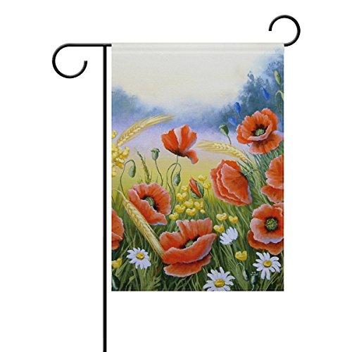 Jstel Home Drapeaux de jardin en tissu polyester coloré, en acrylique, motif coquelicots, superbe drapeau imperméable et résistant aux moisissures, 30,5 x 45,7 cm