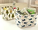 Ciaoed Kleine Baby Leinen Speicher Organizer Sets (Beige, Grau, Pink, Blau) Stoff Aufbewahrungsbox Organizer mit 2 Griffen auf beiden Seiten 20.5x17x15cm -Sets von 4 - 2