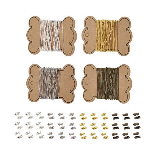 Craftdady Kugelkette, 1,5 mm, Messing, verstellbar, mit 80 passenden Verbindungsstücken für Erkennungsmarken, Schmuck, Schlüsselanhänger, 4 Farben