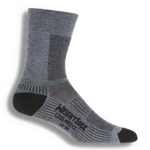 Wrightsock Coolmesh II Crew Running Socks - 2 Pack, Grey, Large