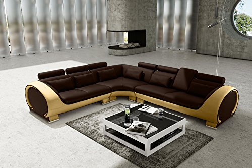SAM Ecksofa Vigo Combi 4, braun/creme, Couch aus Kunstleder, 266x303 cm rechts