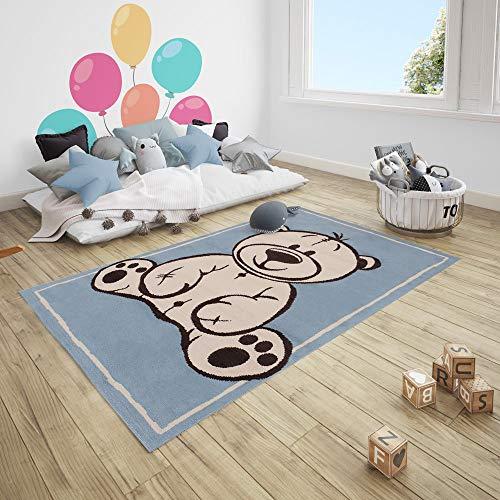 Teppich Boss Kurzflor Kinderteppich Teddy Bär, Größe:120x170 cm, Farbe:hellblau/Creme