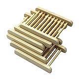 DD-life 6 Pcs Wood Soap Holder, Wooden Soap Sponges Saver Tray Holder for Bathroom Shower Sink