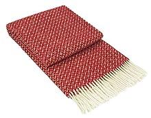 Nostra Manta de lana Zelanda | 100 % lana | manta para sofá | manta cálida | perfecta para bebés | manta moderna | manta roja de Navidad | 140 x 200 cm