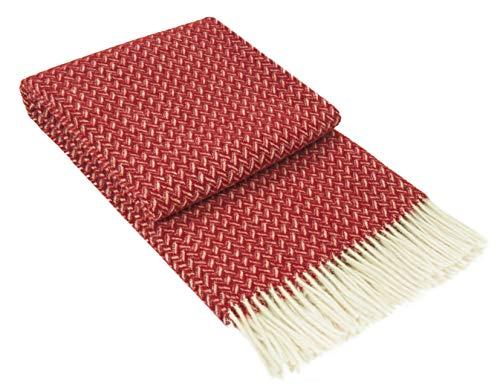 Nostra Manta de lana Zelanda   100 % lana   manta para sofá   manta cálida   perfecta para bebés   manta moderna   manta roja de Navidad   140 x 200 cm