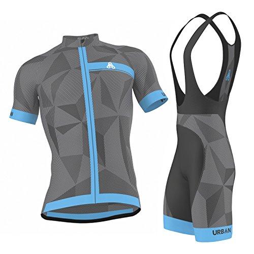 Men's URBAN CYCLING TEAM Short Sleeve Jersey & Bib Shorts Cycling Kit Set, Limited Edition (X-Large, ELITE GRAPHITE Jersey & Bib Shorts Set)