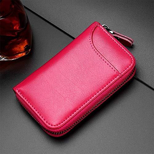 Bolsa MMGZ 9106 de Gran Capacidad con Cremallera Llaves Cuero sostenedor del Bolso multifunción Wallet (Negro) (Color : Rose Red)