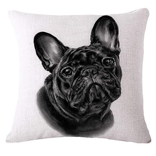 Hetangyuese, federa per cuscino per divano e divano, con motivo bulldog francese, colore nero, 4 pezzi