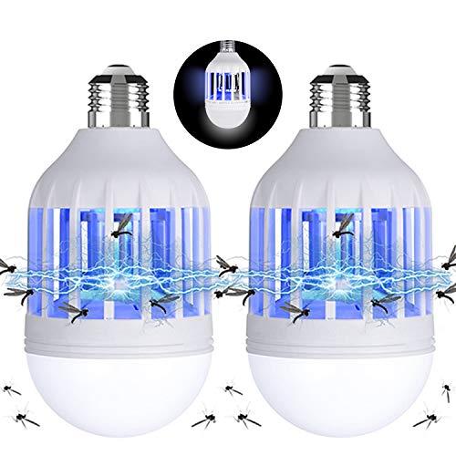 Gvoo Juego de 2 lámparas LED para mosquitos 2 en 1, E27, bombilla con luz UV, matamoscas, matamoscas y mosquitos, para jardín, pasillo, granja, balcón