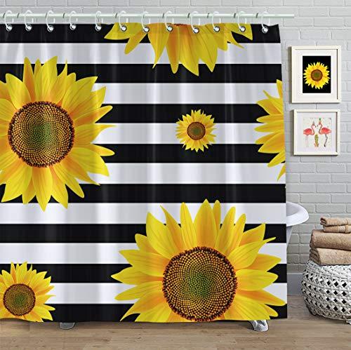 Faitove Duschvorhang, Sonnenblumenmotiv, 183 x 183 cm, wasserdicht, mit Haken, Polyester (Sonnenblumen, schwarz-weiße Streifen)