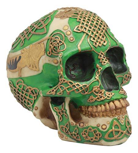 Ebros Celtic Knotwork Shamrock Lion Green Gold Skull Money Bank Figurine Ossuary Labyrinth Dark Arts Decor Statue