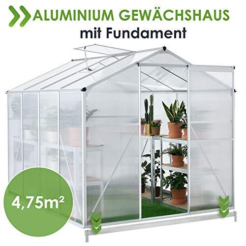 Juskys Aluminium Gewächshaus mit Fundament | 4,75 qm | 190 × 253 cm | 1 Dachfenster & Schiebetür | 4 mm Platten | Garten Treibhaus Pflanzenhaus