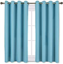 NICETOWN Blackout Curtains Panels for Window - Thermal Insulated Solid Grommet Blackout Panels/Drapes for Bedroom (Teal Blue=Light Blue, Set of 2 Panels, 52 by 45 Inch)